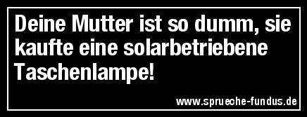 Deine Mutter ist so dumm, sie kaufte eine solarbetriebene Taschenlampe!