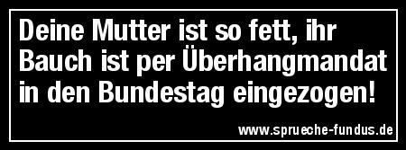 Deine Mutter ist so fett, ihr Bauch ist per Überhangmandat in den Bundestag eingezogen!