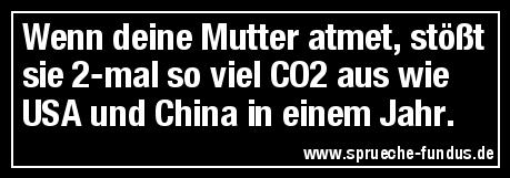 Wenn deine Mutter atmet, stößt sie 2-mal so viel CO2 aus wie USA und China in einem Jahr.